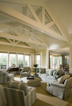 Living Photos Beach House Plans Design, Pictures, Remodel, Decor and Ideas - page 3 Living Room Furniture Layout, Living Room Designs, Ceiling Texture Types, White Beams, White Ceiling, Ceiling Beams, Open Ceiling, Ceiling Height, House Ceiling