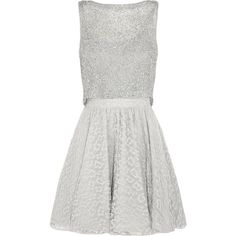 Alice + Olivia Hilta embellished lace mini dress (20,890 PHP) ❤ liked on Polyvore featuring dresses, grey, lace cocktail dress, sequin cocktail dresses, mini dress, lace mini dress and short beaded cocktail dresses