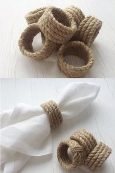 Jute Rope Napkin Rings - Diy and crafts interests Rustic Napkin Rings, Rustic Napkins, Diy Napkin Rings, Wedding Napkin Rings, Jute Crafts, Diy Home Crafts, Paper Doily Crafts, Ostern Party, Thanksgiving Table Settings