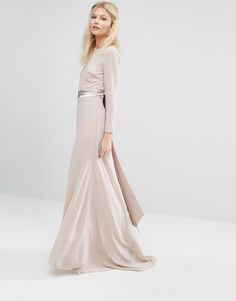 da1f63189a1 TFNC Petite Wedding Bow Back Maxi Dress With Long Sleeves