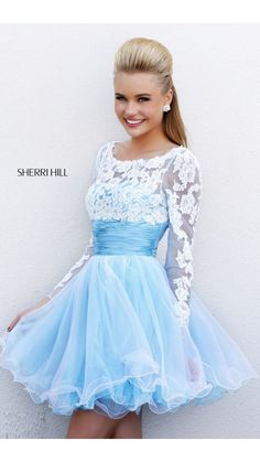 2014 Blue White Sherri Hill 21234 Short Prom Dress Short lace blue dress I call this a Cinderella fairy tale dress @Kelsi @ Brighter Sides Andersen Raines