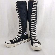 Converse All Star Chuck Taylor Rodilla Alta Top Tenis Deportivas zapatos talla 6 Negro Alto Super