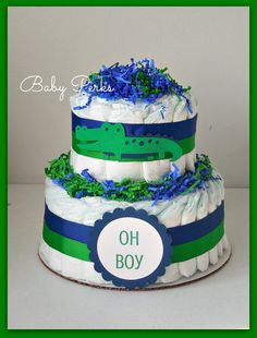 Hey, I found this really awesome Etsy listing at https://www.etsy.com/listing/187479750/alligator-diaper-cake-alligator-baby