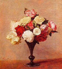Painting with roses in a vase
