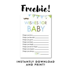 Free Baby Shower Mustache Little Man - Activity Wishes for Baby - Instant Download Printable