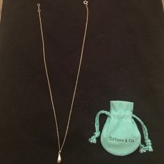 "Tiffany & CO Teardrop Necklace 925 Sterling Silver This beautiful Tiffany & CO Elsa Peretti Teardrop Necklace 16"" Chain in 925 Sterling Silver looks lovely on your neck Tiffany & Co. Jewelry Necklaces"