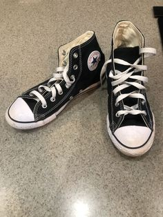 9c366ba5bed4 Black Converse High Tops Youth Size 3 Chuck Taylor All Stars  fashion   clothing
