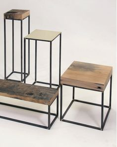 Make some occassional tables and bedsides, from matt black painted steel and recycled timber