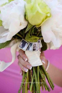 Pictures of passed away loved ones unable to attend the wedding - Bouquet