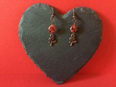 https://www.etsy.com/shop/MoggysMall #earrings, #jewellery, #funky, #beads, #flower, #charms, #millefiori, #red, #copper, #rose