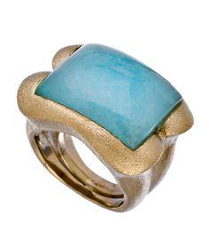 Claudia Lobao Turquoise Brass Ring