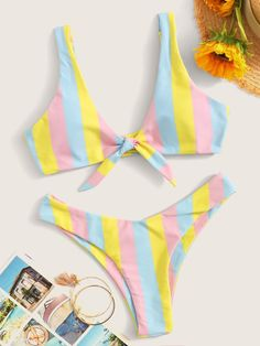 To find out about the Striped Knot Front Top With High Cut Bikini at SHEIN, part of our latest Bikinis ready to shop online today! Cute Swimsuits, Cute Bikinis, Summer Bikinis, Women Swimsuits, Women's Bikinis, Summer Beach, 50s Bathing Suit, Girls Bathing Suits, Bikini Outfits