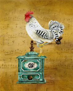 8 x 10 Art Print. Rooster With Coffee Grinder. Artwork by Jennifer Lambein