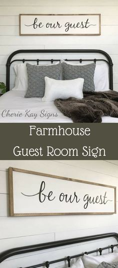 """""""Be Our Guest"""" sign will make your guest room so cozy and welcoming. This hand painted sign will bring out the Farmhouse look in your guest room. #affiliate #farmhousedecor #cottage #walldecor"""
