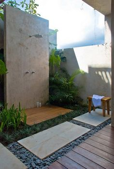 outdoor shower contemporary landscaping