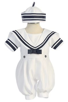 White Nautical Sailor Romper Outfit with Classic Dixie Cup Sailor Hat (Infant Boys 3 - 24 months)