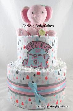 Girl diaper cake | Pink diaper cake | Baby shower decoration | Elephant diaper cake | Baby diaper cake | New mom gift | Baby sprinkle gift by MsCarlasBabyCakes on Etsy