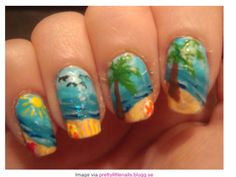 Love these beach themed nails!! There PERFECT for summer!