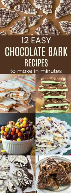 holiday desserts 12 of the Best Easy Chocolate Bark Recipes - a simple sweet treat perfect for the holidays. Use your favorite flavors to make candy in minutes for a holiday dessert or edible gifts. Mini Desserts, Christmas Desserts, Delicious Desserts, Christmas Bark, Easy Holiday Desserts, Xmas, Chocolate Chip Cookies, Chocolate Candy Recipes, Homemade Chocolate Bark