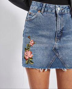 jean skirt, flowers, 90s