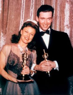"""Ginger Rogers - Best Actress Oscar for """"Kitty Foyle"""" with James Stewart - Best Actor Oscar for """"The Philadelphia Story"""" in 1941"""