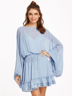 Shop Blue Oversized Bishop Sleeve Ruffle Hem Drawstring Dress With Cami Top online. SheIn offers Blue Oversized Bishop Sleeve Ruffle Hem Drawstring Dress With Cami Top & more to fit your fashionable needs.