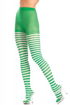 75f587892 Sexy Be Wicked Green White Striped Tights Nylons Hosiery Stockings  Leprechaun St. Patrick s Day Black