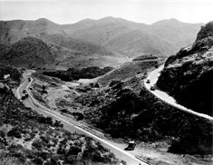 Old Conejo Grade leading down to Camarillo, CA from Thousand Oaks and Los Angeles. The grade was straightened in the 1930s.