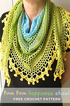 FREE #crochet pattern to make this pom pom happiness #shawl can be found on wilmade.com. Includes a video tutorial as well!