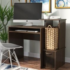 Whether you're often working from home or just need a designated spot for web surfing, this computer desk is the perfect pick. Understated in its design, it is crafted from manufactured wood with a cl Computer Armoire, Home Office Computer Desk, Computer Desk With Hutch, Best Computer, Printer Storage, Printer Shelf, Cheap Office Supplies, Armoires Diy, Base