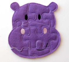 Eco-felt purple hippo puzzle for toddlers
