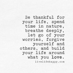 be thankful for your life