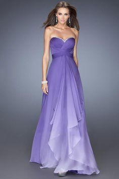 2014 Gradient Color Prom Dress A Line Pleated Bodice Open Back Chiffon Beaded