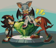 aoki_(fumomo) knuckles_the_echidna master_emerald no_humans rouge_the_bat shadow_the_hedgehog sonic_the_hedgehog Shadow The Hedgehog, Sonic The Hedgehog, Hedgehog Art, Shadow And Rouge, Rouge The Bat, Sonic Mania, Sonic Franchise, Sonic Heroes, Sonic And Shadow