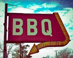Old Restaurant Sign  - Vintage BBQ Signage -  Fine Art Photograph-  8 x 10 -  home decor print - restaurant art - wall decor. $38.00, via Etsy.