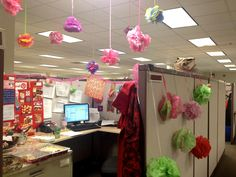 An employee's office decorated for their birthday using only ideas she's pinned on Pinterest down to the snacks made to celebrate!