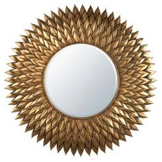 Antique Gold Metal Framed Sunburst Mirror