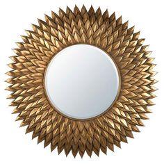 Antique Gold Metal Framed Sunburst Mirror