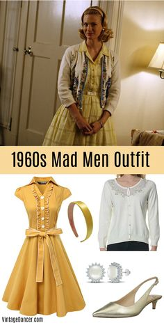 1960s outfit ideas inspired by housewife, Mad Men, Jackie O style, mod, hippies, boho, and casual looks with pants, skirts, dresses, shoes and more.