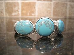 Fossil~Silver Tone~Oval and Round Turquoise Stones~Statement Bracelet~$55 #Fossil #Statement