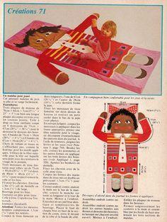 Jouets en tissu XXL, tapis de jeu pour bébé, encyclopédie Ateliers , années 70, vintage free pattern