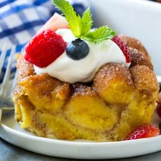 This 5 ingredient donut bread pudding is the ultimate make ahead breakfast.