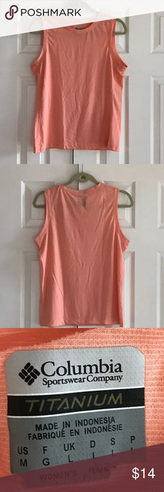 """Columbia titanium Omni dry top 100% polyester machine wash cold. Color is a light coral. Armpit to armpit is 20"""". Shoulder to bottom hem is about 24"""". Top is in really good condition no rips no snags no stains and all stitching is intact. Columbia Tops Tank Tops"""