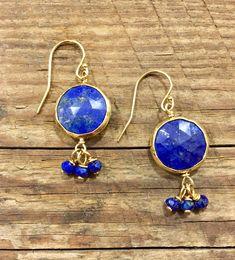 Lapis Earrings, Lapis Lazuli, Bezel Set, Lapis Jewelry, Drop Earrings, Simple Earrings, Blue Earrings, Blue Gemstones, Boho, Gift, Holiday