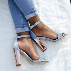 blue pumps with gold heels Heeled Boots, Shoe Boots, Shoes Heels, Strappy Shoes, Heeled Sandals, Sandals Outfit, Blue Sandals, Chunky Sandals, Summer Sandals