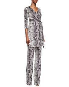 Diane von Furstenberg Snake-Print Wrap Tunic Top and Silk Jersey Pants