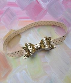 Gold Bow Headband. Baby Headband. Glitter Bow Headband. Gold Headband. Infant Hair Bow. Newborn Girl Headband