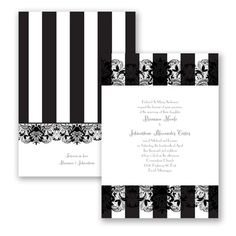 French Lace - Wedding Invitation - Sophisticated Stripes, Typography at Invitations By David's Bridal