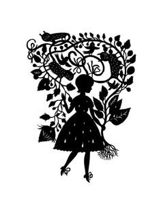 """Rain Girl"" by Elsa Mora | art print of paper cutout by artist | vines and birds"