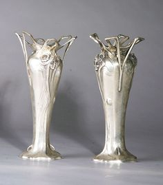 The Antique Traders - Art Nouveau Silver/Bronze Vases Art Nouveau Design, Design Art, Antique Art, Antique Silver, Vintage Silver, Chandeliers, Jugendstil Design, Steampunk Design, Art And Architecture